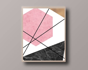 Abstract Scandinavian Print, Marble Print, Minimalist Print, Abstract Polygon Print, Abstract Foil Print, Minimalist Triangle Print