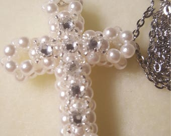 """3D Cross Necklace """"Pearly White"""" Gifts for Her"""