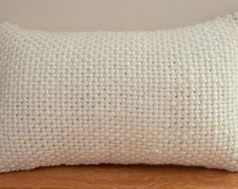 Wool Basketweave Textured Knit Lumbar Pillow in Cream