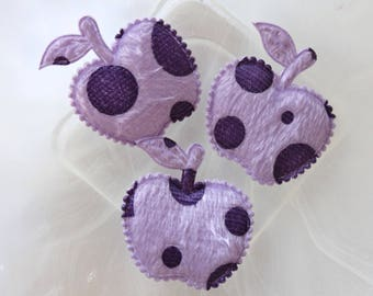 set of 2 apples with purple fabric scrapbooking