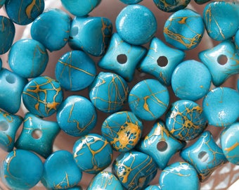 set of 10 beads turquoise printed colorful stars