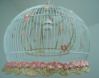 floral pendant cage light cage