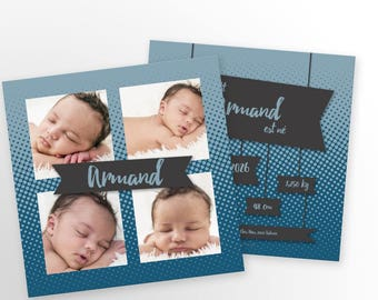 Baby boy announcement, mixed - to personalize - Armand model