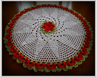 cotton crocheted table doily Center acrylic and lurex thread