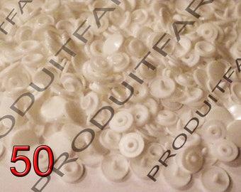 Set of 50 snap resin Kam T5 white 12 mm