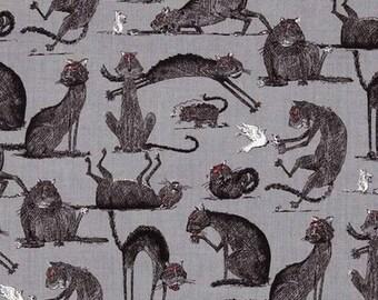 Black White grey odditties cats fabric