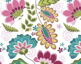 White flowers by Riley Blake Fantine patchwork fabric