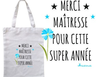 """100% COTTON TOTE BAG """"THANK YOU TEACHER THIS YEAR"""" PERSONALIZED"""