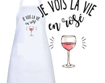 """ADULT apron personalized """"I see life in pink"""""""