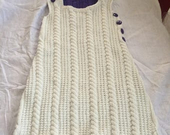 White and purple sleeping bag hand knitted