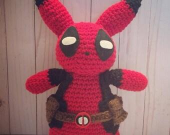 Pikachu in a Deadpool Costume