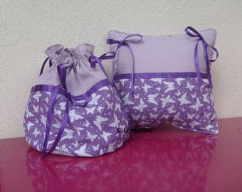 set of pillow and pouch and Parma violet cotton fabric with butterfly pattern