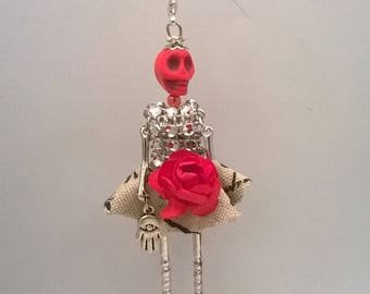 """Pendant necklace - Articulated Doll - """"Patotte Rosa"""""""