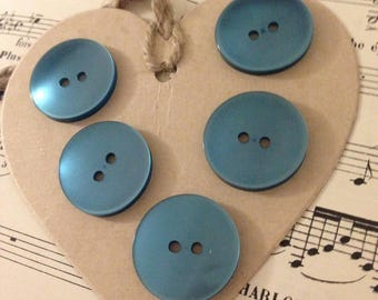 Set of 5 large TURQUOISE buttons