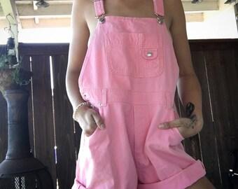 90s bubblegum pink overall shorts