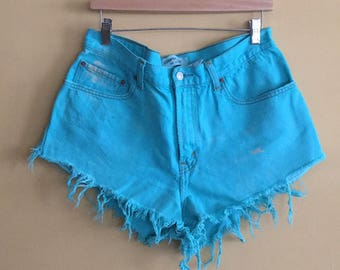 Turquoise Levi cut off high waist shorts
