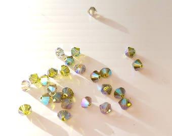 4mm Green Olivine AB2X bicone beads