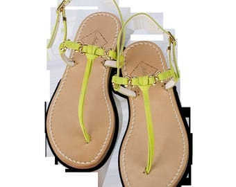 Ladies Lara Lime Green Suede Leather Flat Sandals