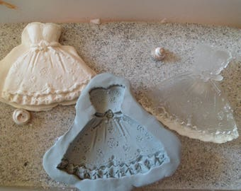 silicone mold for polymer clay wepam Princess/wedding gown resin cast