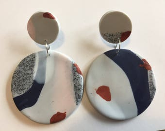 Grey & Navy Marbled Dangle earrings