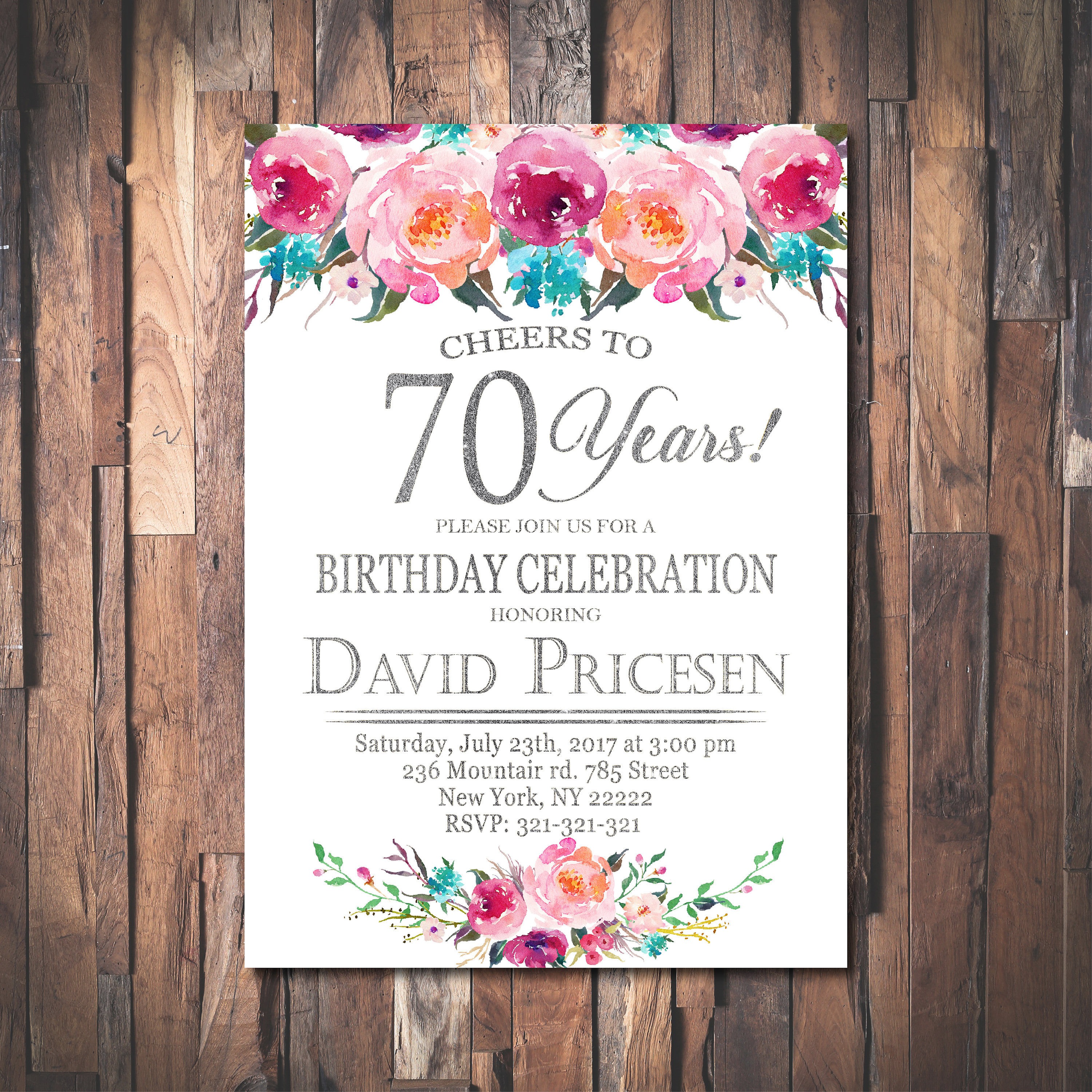 Floral 70th Birthday Invitation,Cheers to 70 years,70th Birthday ...