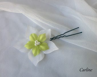 PIN stick hair accessories silk flower bridal beads lime green white