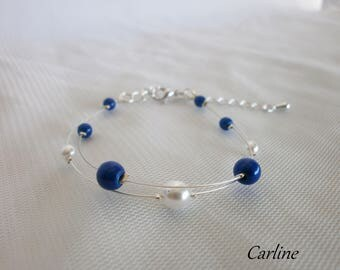 Beads - Crystal Bracelet Royal Blue and white wedding