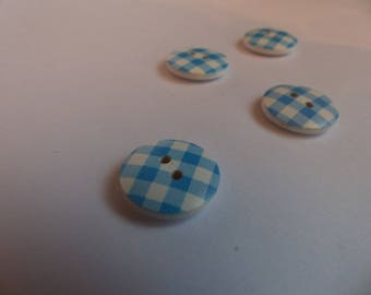 Wooden buttons Plaid blue and white 18mm