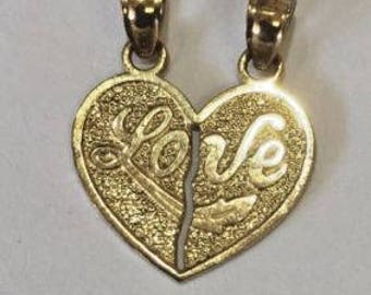 1.1 Grams Mens Ladies 10k Yellow Real Gold love Split breakable Heart Charm Pendant