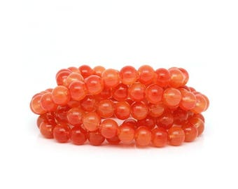 20 beads 8mm red glass orange M02432