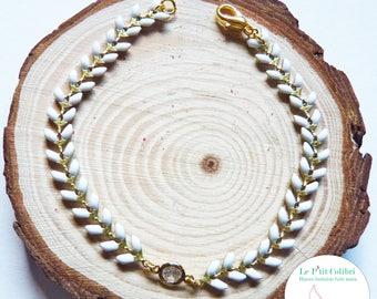 "Bracelet ""Empress"" white and gold 17.2 cm"