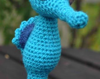 Doudou, peluche, jouet pour bébé, hippocampe, bubulle l'hippocampe, crochet, amigurumi, cadeau naissance