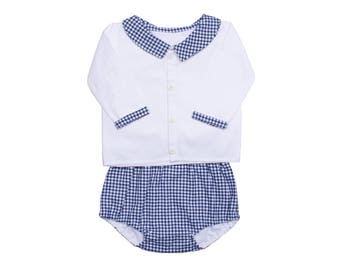 Baby boy fancy gingham shirt and bloomer set