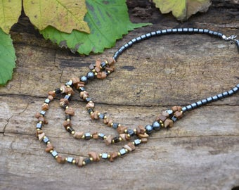 Natural stone necklace Gemstone Necklaces Brown natural agate Necklace Gemstone Statement Natural Stone Natural Genuine Agate Hematite