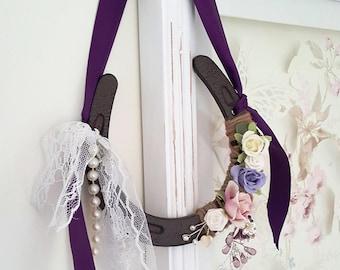Pastel flowers lucky horsehoe - personalised