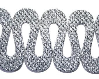Wave 4 cm x 1 cm silver Lurex Ribbon