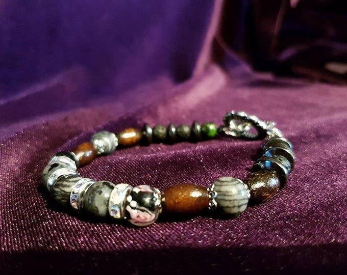 Gemstone-rhinestone bracelet - moonstone zebrastone hematite wicca witch pagan gemstones rhinestones