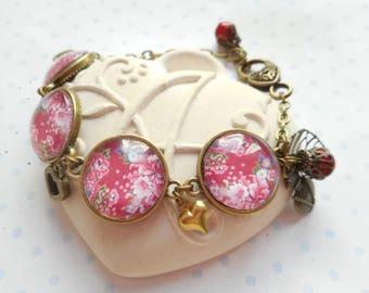 "Bracelet 4 glass cabochons vintage ""Gypsy"" bronze, red, pink, blue, green, flowers"