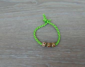 Cord bracelet wood jewelry beads