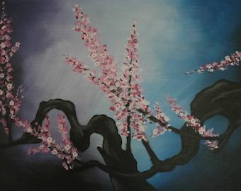 """Tableau Peinture Acrylique Asiatique Branche de Cerisier en Fleurs """"Sakura"""""""