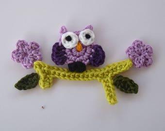 little OWL sitting on a branch - applique crochet