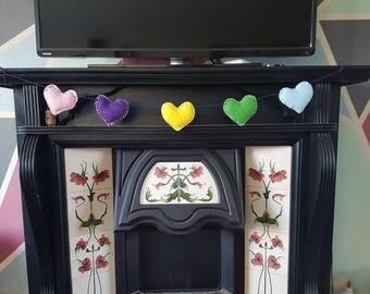 Felt Heart Hanging Garland, Felt Bunting, Colourful Decoration, Love Decor