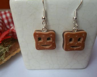 Earring B.N chocolate in Fimo