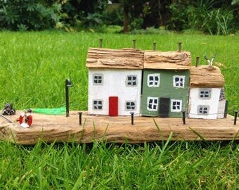Handmade Driftwood Trio Of Cottages
