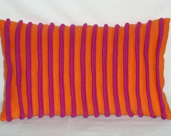 30 x 50 cm joke knitted raspberry orange Cushion cover