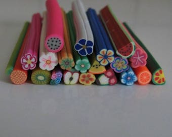 Set of 20 fruits and flowers 50 mm X 0.5 mm rf9 polymer canes