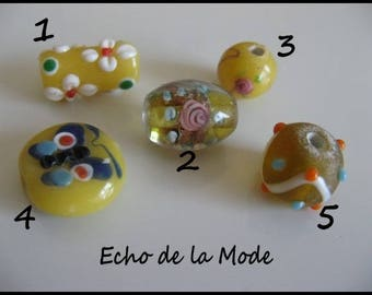 Set of 5 beads glass style lampwork artisan set 1