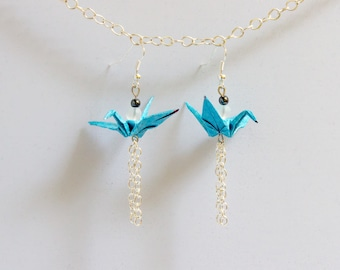 Light blue origami cranes, chains and beads dangling earrings