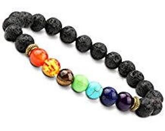 Chakra Bracelet with Lava Stone