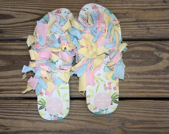 Butterfly Pattern Size 11 Women's | Flip Flops | Shaggy Shoes | Custom and One of a Kind!